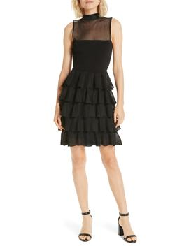 Janice Tiered Ruffle Mesh Knit Dress by Alice + Olivia