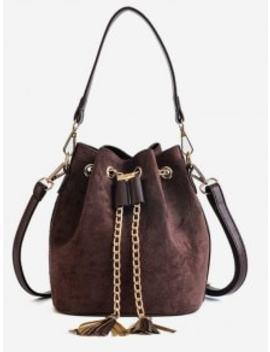 Mini Tassel Design Bucket Crossbody Bag   Coffee by Zaful