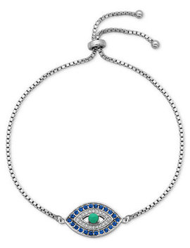 Cubic Zirconia Evil Eye Bolo Bracelet In Sterling Silver, Created For Macy's by Giani Bernini