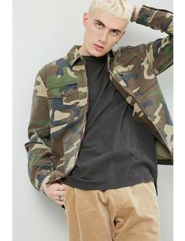 Camo Zip Front Shirt by Forever 21