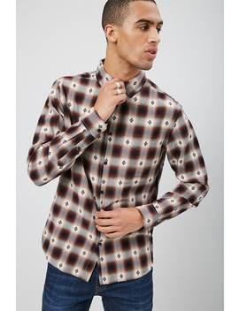 Geo Embroidered Plaid Shirt by Forever 21