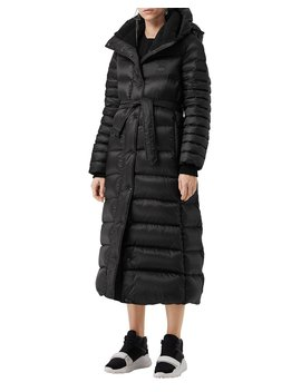 Single Breasted Belted Puffer Coat by Burberry
