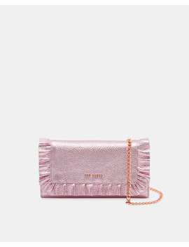 Metallic Leather Ruffle Cross Body Matinee Purse by Ted Baker