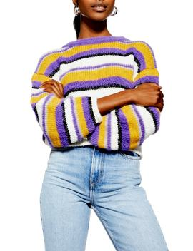 Fluffy Stripe Sweater by Topshop