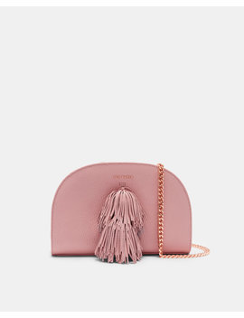 Leather Pom Pom Cross Body Bag by Ted Baker