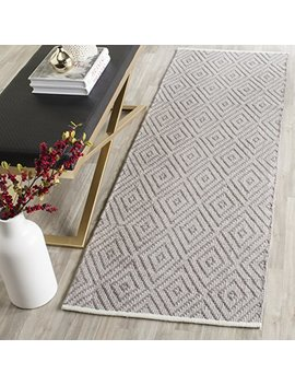 "Safavieh Montauk Collection Mtk811 A Handmade Flatweave Grey And Ivory Cotton Runner (2'3"" X 7') by Safavieh"