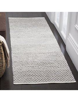 "Safavieh Montauk Collection Mtk601 K Handmade Flatweave Light Grey And Ivory Cotton Runner (2'3"" X 7') by Safavieh"