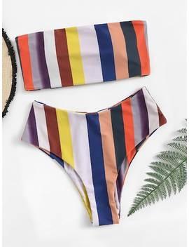 Random Striped Bandeau With High Leg Bikini Set by Sheinside
