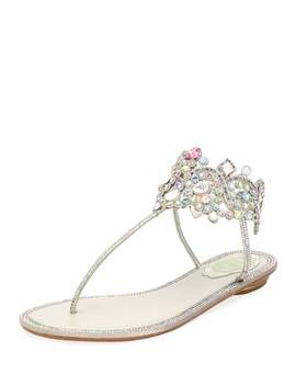 Flat Thong Sandal With Multi Crystal Ankle Wrap by Rene Caovilla