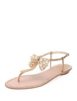 Flat Thong Sandal With Golden Bow by Rene Caovilla