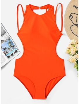 Open Back One Piece Swimwear by Sheinside
