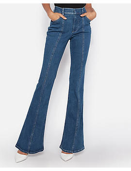Petite High Waisted Seamed Denim Perfect Bell Flare Jeans by Express