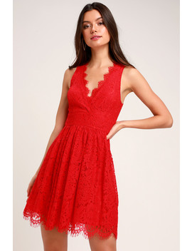 In This Moment Red Lace Sleeveless Skater Dress by Lulus