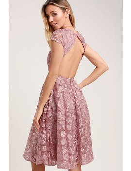 Jacqueline Lavender Floral Lace Backless Midi Dress by Lulus