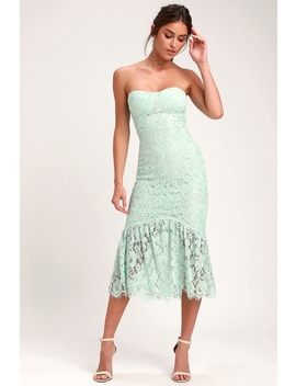 Divine Nights Mint Green Lace Strapless Midi Dress by Lulus
