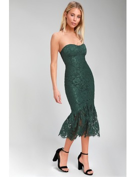 Divine Nights Forest Green Lace Strapless Midi Dress by Lulus