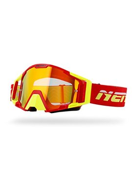 Nenki Mx Goggles Nk 1025 Motocross Atv Off Road Dirt Bike Goggles For Unisex Adult (Red Yellow) by Nenki