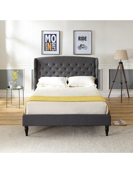 Modern Sleep Brighton Upholstered Platform Bed | Headboard And Wood Frame With Wood Slat Support | Grey, Multiple Sizes by Modern Sleep
