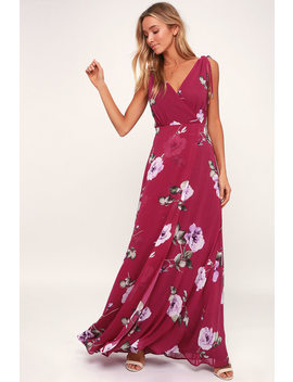 Romantic Possibilities Magenta Floral Print Maxi Dress by Lulus