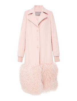Fur Panel Coat by Lela Rose