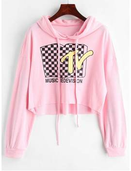 Tv Graphic Cropped Hoodie   Pig Pink Xl by Zaful