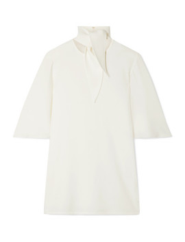 Salvador Tie Neck Crepe Top by Ellery