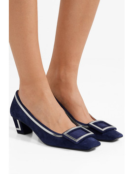Belle Vivier Graphic Metallic Leather Trimmed Suede Pumps by Roger Vivier