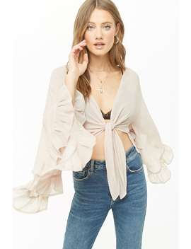 Angel Wing Sleeve Crop Top by Forever 21