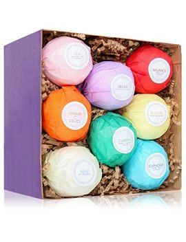 Han Zá 8 Bath Bombs Gift Set Ideas   Vegan Gifts For Women, Mom, Girls, Teens, Her, Mothers, Wife   Ultra Lush Spa Fizzies   Add To Bath... by Han Za