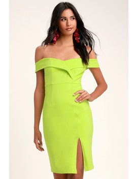 Classic Glam Lime Green Off The Shoulder Bodycon Dress by Lulus