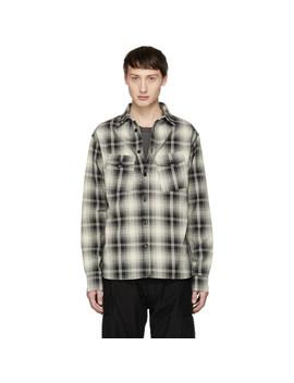 Black & Off White Plaid Slant Pocket Shirt by Billy