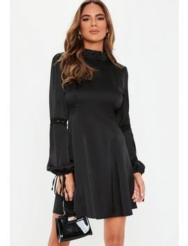 Black High Neck Satin Skater Dress by Missguided