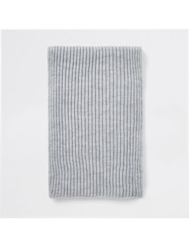 Grey Ribbed Knit Scarf by River Island