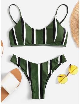 Striped High Cut Bikini Set by Shein