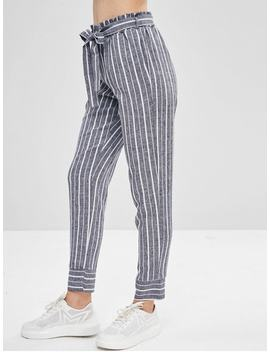 Belted Striped High Waisted Tapered Pants   Deep Blue L by Zaful
