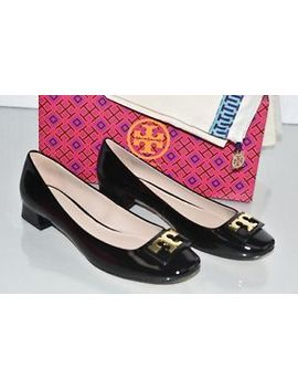 New Tory Burch Gigi Pumps Soft Black Patent Leather Gold Logo Flats Shoes 8 9.5 by Tory Burch