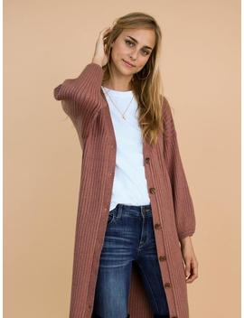 'cara' Brown Ribbed Button Front Bishop Sleeve Long Cardigan by Goodnight Macaroon