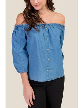 Liza Off The Shoulder Chambray Top by Francesca's