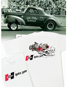 Hurst Hydro Gate White T Shirt   Hs #053 Gasser Willys Anglia Altered Vintage Drag Decal Shifter Wheels Magnesium by Etsy