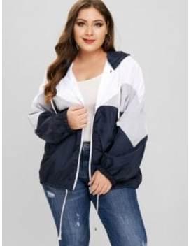 Tricolor Plus Size Light Windbreaker Jacket   Gray 4x by Zaful