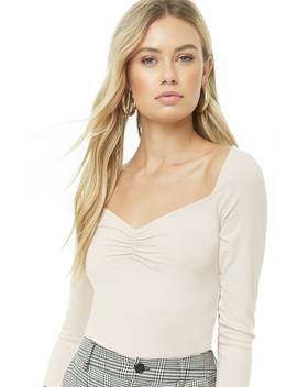 Ruched Ribbed Top by Forever 21