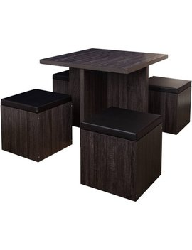 5 Piece Baxter Dining Set With Storage Ottoman, Multiple Colors by Target Marketing Systems