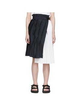 Navy & White Pinstripe Skirt by Sacai