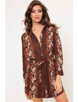 Snake Print Belted Shirt Dress by I Saw It First