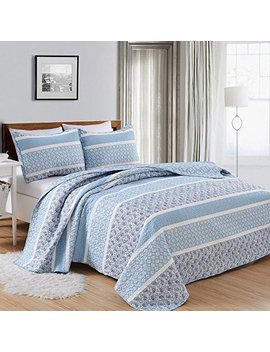 Great Bay Home 3 Piece Reversible Quilt Set With Shams. All Season Bedspread With Striped Pattern In Gentle Colors. Kadi Collection Brand. (King, Blue) by Great Bay Home