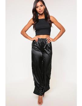 Black Satin Wide Leg Cargo Trousers by I Saw It First