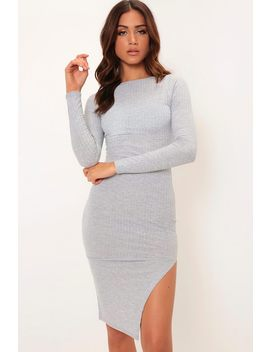 Grey Long Sleeve Ribbed Brushed Midi Dress by I Saw It First