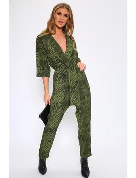 Green Snake Print Jumpsuit by I Saw It First