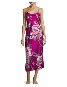 Aziome Long Satin Nightgown, Purple Pattern by Neiman Marcus