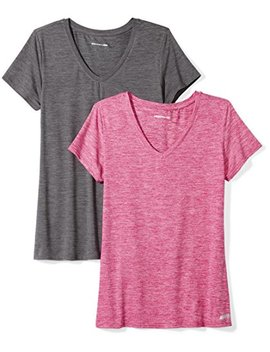 Amazon Essentials Women's 2 Pack Tech Stretch Short Sleeve V Neck T Shirt by Amazon Essentials
